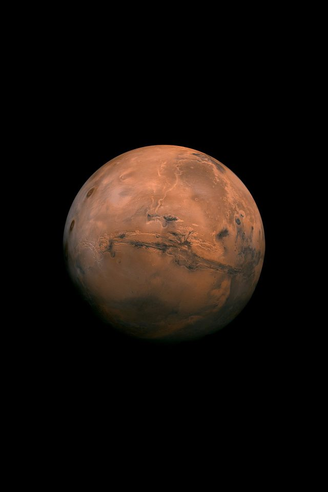 Mars Red Dark Minimal Art Space Planet Android wallpaper