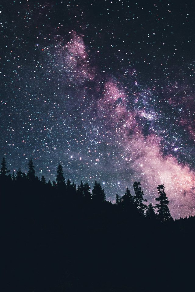 Night Sky Dark Green Space Milkyway Star Nature Android wallpaper