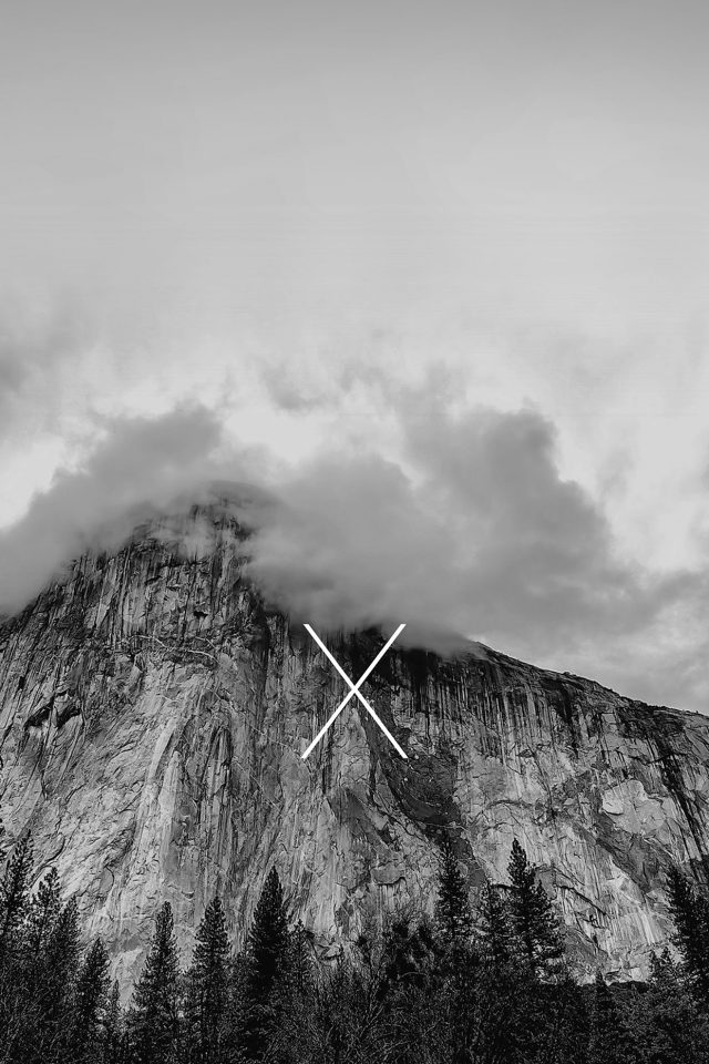 Os X Yosemite Mac Apple Black White Mountain Android wallpaper