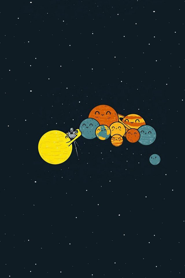 Planets Cute Illustration Space Art Android wallpaper