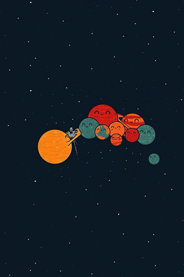 Planets Cute Illustration Space Art Blue Red Android wallpaper