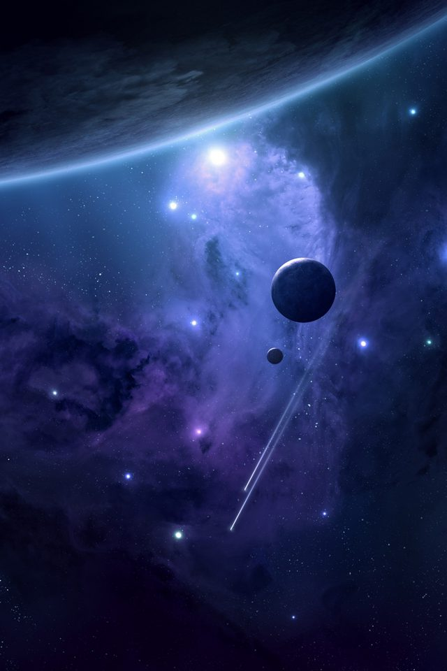 Planets Space Blue Art Android wallpaper