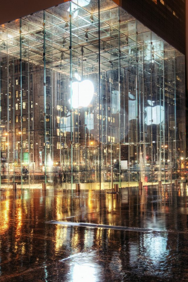 Raining Apple Store Newyork Android wallpaper
