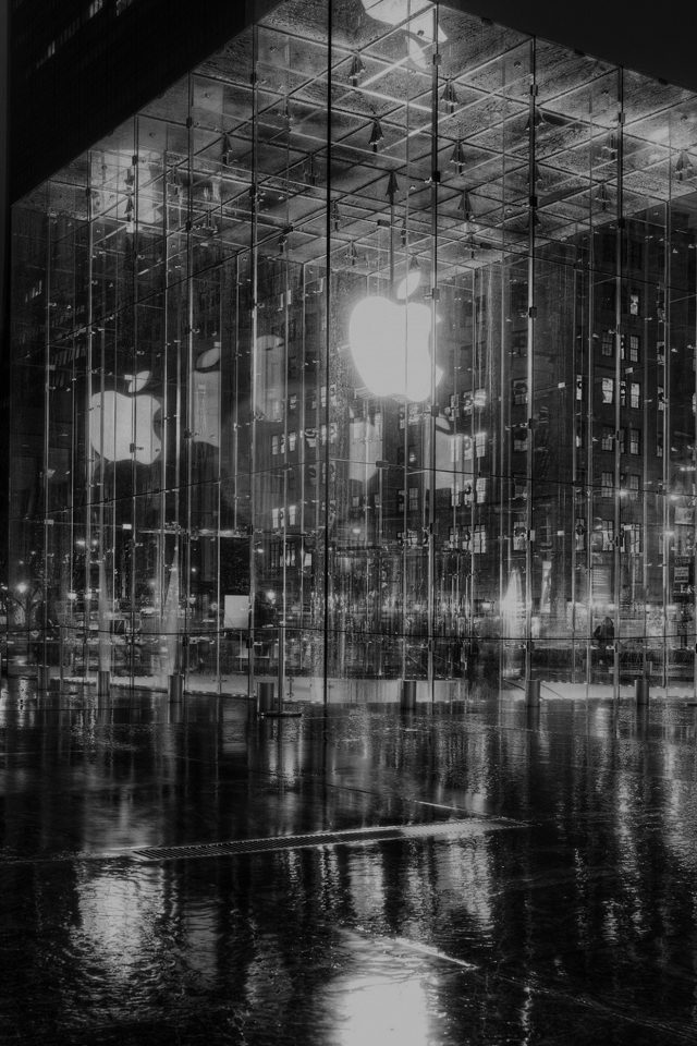 Raining Apple Store Newyork At Night Dark Android wallpaper