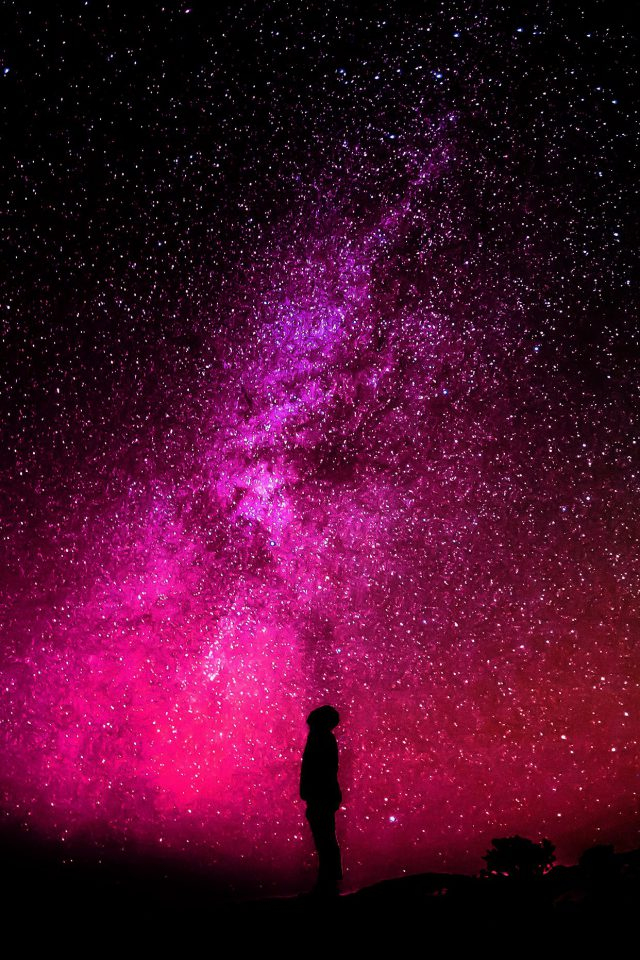 Sky Galaxy Milkyway Space Night Red Android wallpaper
