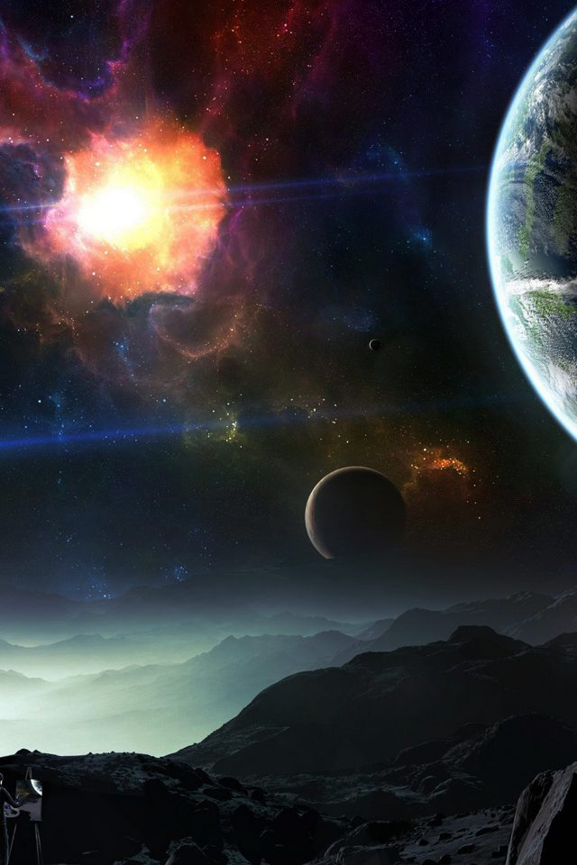 Space Art Illustration Dark Star Android wallpaper