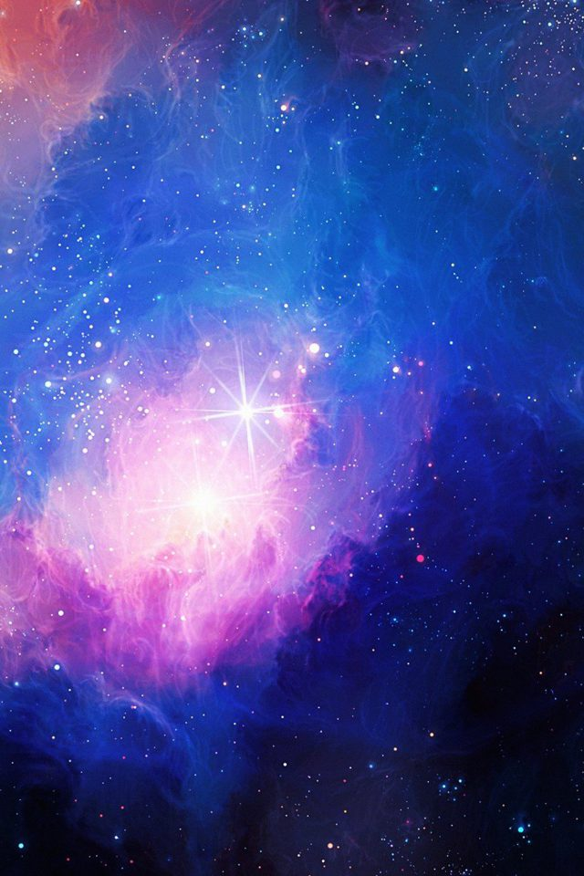 Space Aurora Art Star Illust Blue Rainbow Android wallpaper