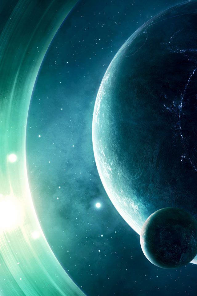 Space Odyssey Saturn Dark Art Nature Android wallpaper