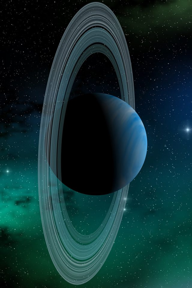 Space Planet Saturn Blue Star Art Illustration Android wallpaper