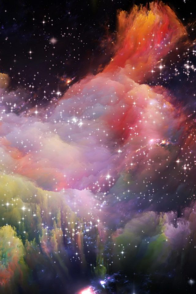 Space Rainbow Colorful Star Art Illustration Android wallpaper