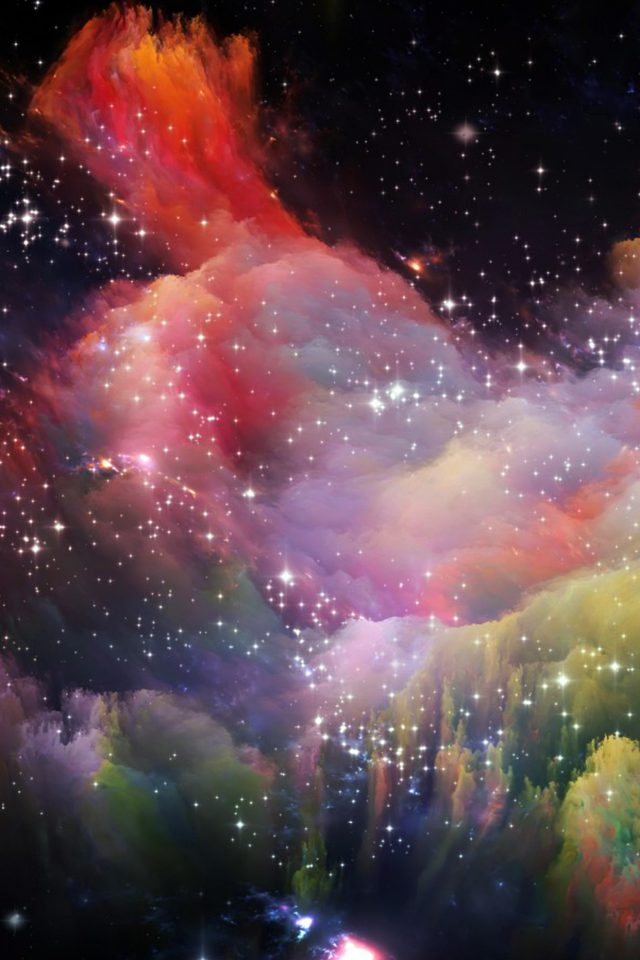 Space Rainbow Colorful Star Art Illustration Red Android wallpaper