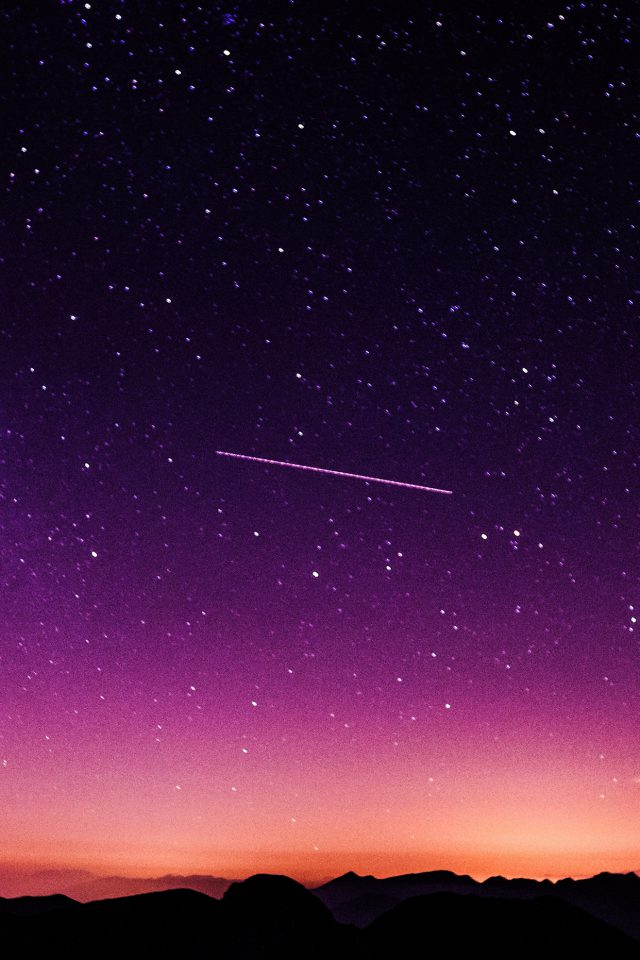 Star Galaxy Night Sky Mountain Purple Red Nature Space Android wallpaper