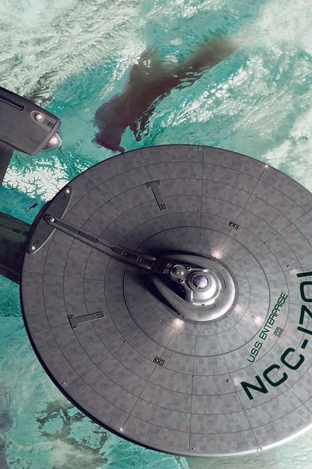 Starship Enterprise Blue Space Art Illust Android wallpaper