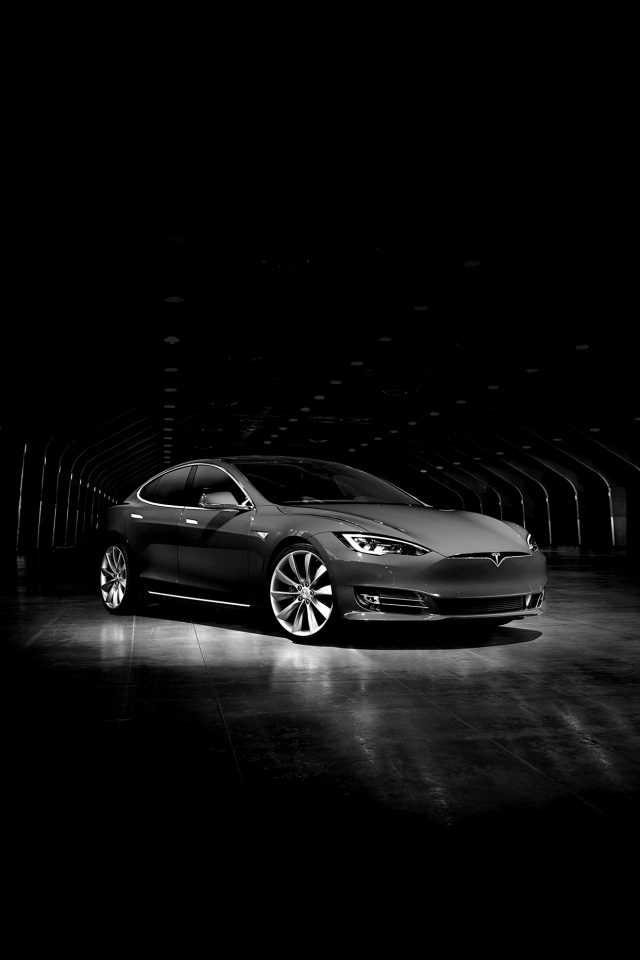 Tesla Model Dark Bw Car Android wallpaper