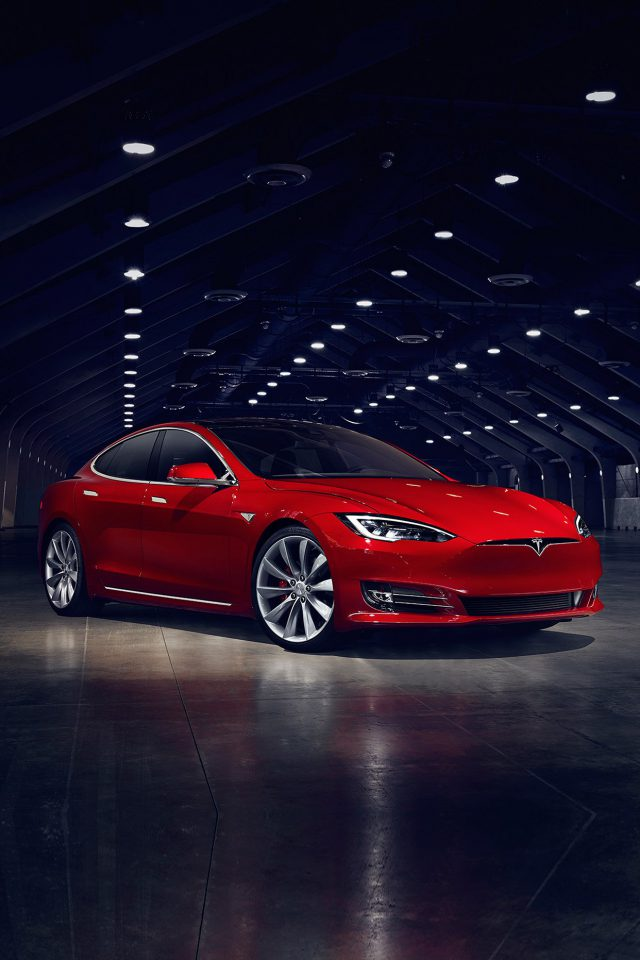 Teslar Model S Red Car Motor Art Android wallpaper