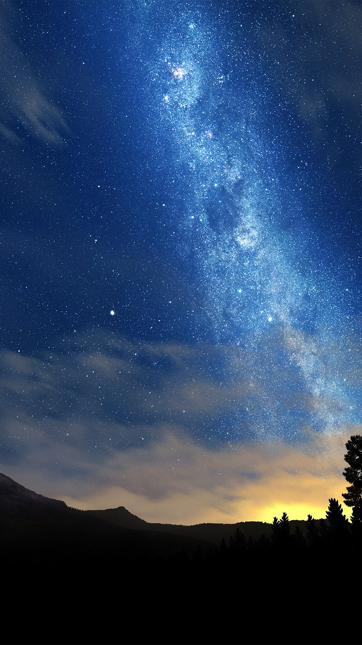 Wonderful Tonight Space Star Sunset Mountain Android wallpaper