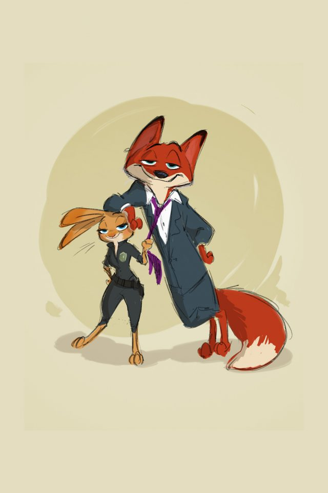 Zootopia Cute Animal Disney Judy Nick Illustration Art Android wallpaper